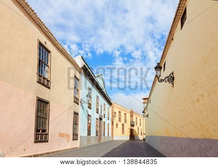 street in old colonial town of La Laguna, Tenerife island, Canarias Spain