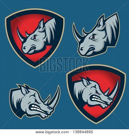 Set of emblems with rhino head. Sport team mascot. Design element for logo label emblem sign badge. Vector illustration.