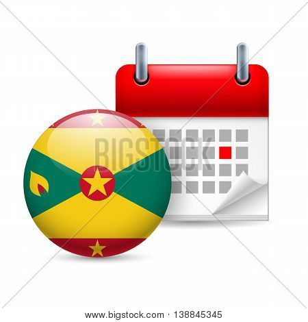Calendar and round flag icon. National holiday in Grenada