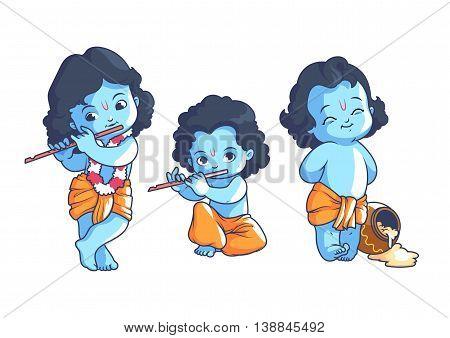 Set of little Krishna. Vector cartoon illustration on a white background.