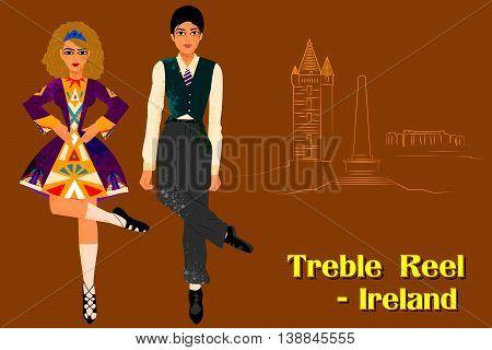 Vector design of Couple performing Treble Reel dance of Ireland