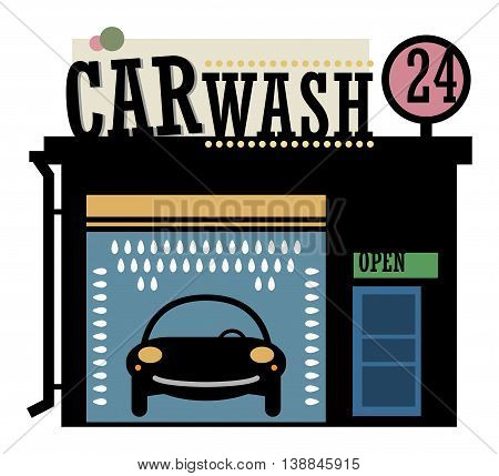 Abstract color Car wash station, vector illustration