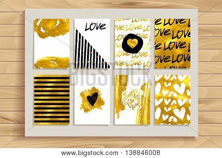 Set Of Gold Vintage Cards