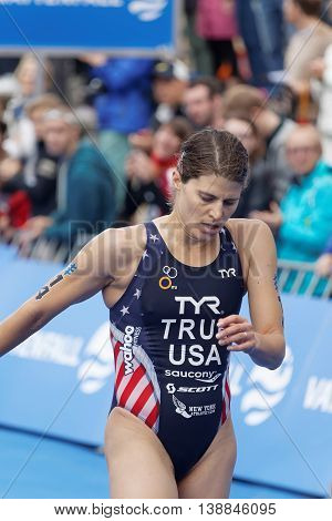 STOCKHOLM - JUL 02 2016: Triathlete Sarah True (USA) after the finish in the Women's ITU World Triathlon series event July 02 2016 in Stockholm Sweden