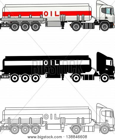 Detailed illustration of classic gasoline trucks isolated on white background in a flat style.