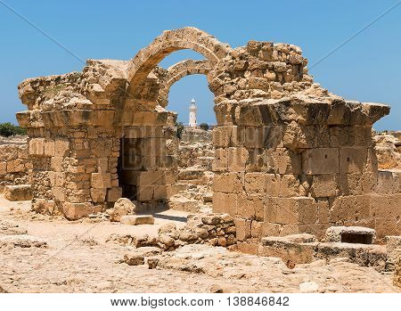 Saranta Kolones Fort with lighthouse in Paphos, Cyprus