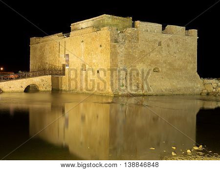Ancient Medieval Castle at night in Paphos, Cyprus