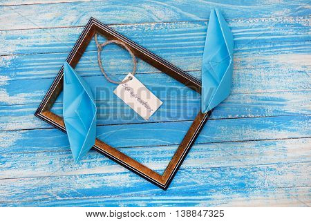 Sign Sea Adventure With Photo Frame. Vocation Background