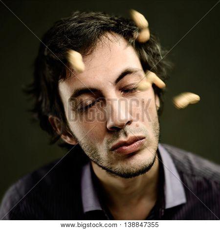 Man Meditating With Closed Eyes