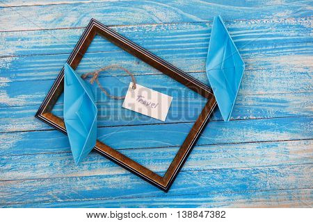 Sign Travel With Photo Frame. Vocation Background
