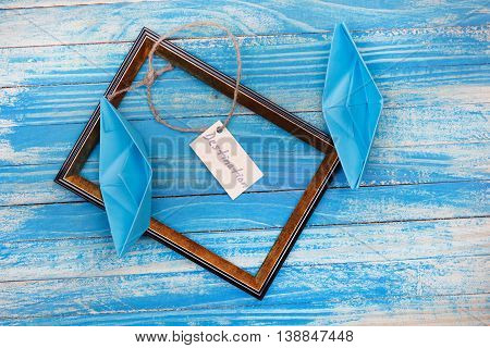 Sign Destination With Photo Frame. Vocation Background