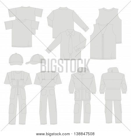 Collection of men work clothes (front back views)