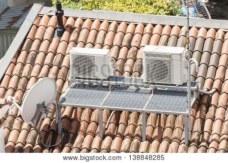 Rooftop deck for installing air conditioners and television antenna
