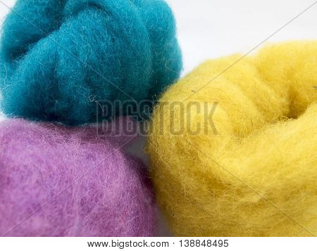 Skeins Of Colored Wool For Felting, Light Blue And Yellow