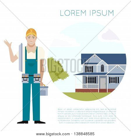 Vector image of the home building and agent banner