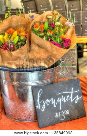 Organically grown flowers on display or for sale at flower farm