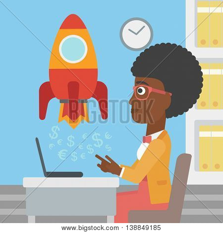 An african-american business woman sitting at the table and looking at a business start up rocket taking off. Business start up concept. Vector flat design illustration. Square layout.