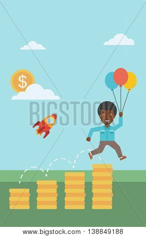An african-american businessman with balloons flying over gold coins and rocket flying nearby. Business start up concept. Vector flat design illustration. Vertical layout.