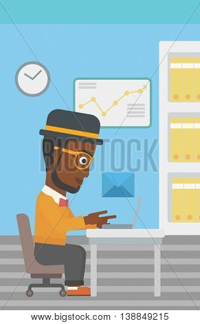An african-american businessman working on his laptop in office and receiving or sending email. Business technology, email concept. Vector flat design illustration. Vertical layout.