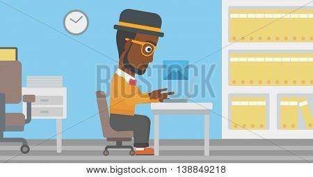 An african-american businessman working on his laptop in office and receiving or sending email. Business technology, email concept. Vector flat design illustration. Horizontal layout.