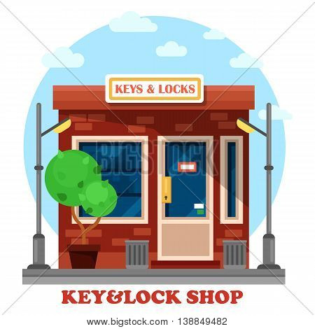 Key and locks local shop or store with lamp or lantern, garbage can. Work or job with duplication, and cutting, repairing or creating metal keys. May be used for craftsman and business theme