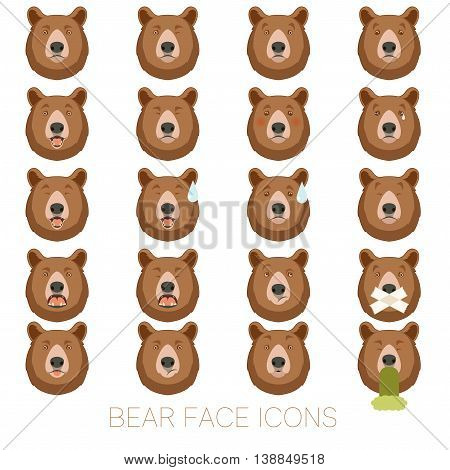 Vector image of the Set of bear face icons