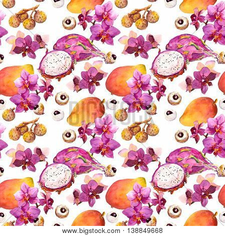 Exotic fruit seamless tropical pattern: mango, dragon fruit, litchi and orchid flowers. Watercolor