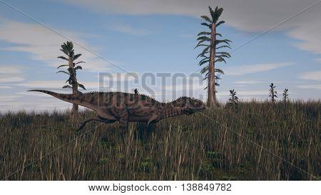 3d illustration of the majungasaurus on grass terrain