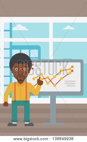 An african-american businessman pointing at charts on a board during business presentation. Businessman giving business presentation. Vector flat design illustration. Vertical layout.
