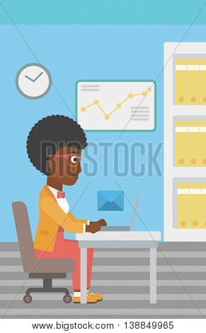An african-american young business woman working on her laptop in office and receiving or sending email. Business technology, email concept. Vector flat design illustration. Vertical layout.