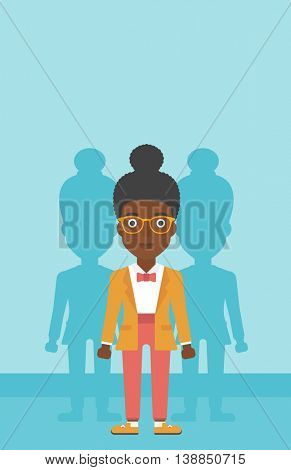 An african-american young woman standing with some shadows behind her. Candidat for a position stand out from crowd. Concept of staff recruitment. Vector flat design illustration. Vertical layout.