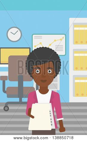An african-american young business woman giving a resume in office. Woman giving to the employer her curriculum vitae. Job interview concept. Vector flat design illustration. Vertical layout.