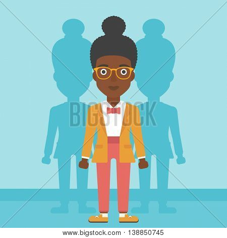 An african-american young woman standing with some shadows behind her. Candidat for a position stand out from crowd. Concept of staff recruitment. Vector flat design illustration. Square layout.