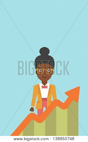An african-american young business woman standing behind growing chart. Successful business concept. Vector flat design illustration. Vertical layout.