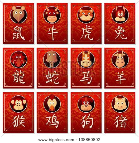 Chinese zodiac signs as animals with corresponding hieroglyphs and oriental backdrop on badge panels