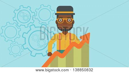 An african-american young businessman standing behind growing chart. Successful business concept. Vector flat design illustration. Horizontal layout.