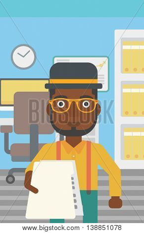 An african-american young businessman giving a resume in office. Man giving to the employer his curriculum vitae. Job interview concept. Vector flat design illustration. Vertical layout.