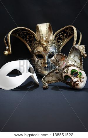 Theater concept. Set of classical mask on dark background