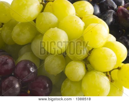 Fresh Red, Black And White Grapes