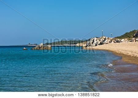 Sandy beach at morning, west coast of peninsula Sithonia, Chalkidiki, Greece