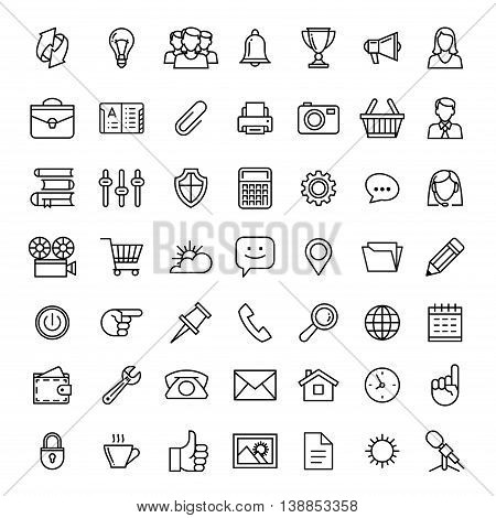 line icons set isolated illustration. Icons for business management finance strategy planning analytics banking communication social network affiliate marketing.