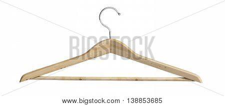 Wooden Coat Hanger 3D Render On White