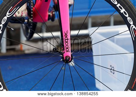 STOCKHOLM - JUL 02 2016: Closeup of a cycle wheel in the Women's ITU World Triathlon series event July 02 2016 in Stockholm Sweden