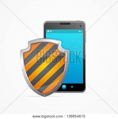 Phone Safety Concept Isolated on White Background. Protection Gadgets. Vector illustration