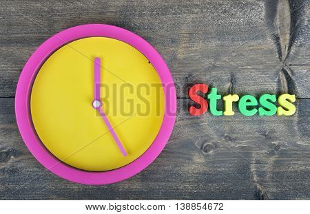 Stress word on wooden table