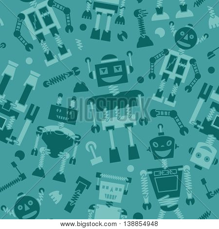 Cute retro robots silhouette vector background seamless pattern
