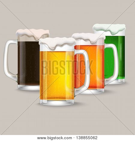 four mug of different beer. dark beer, red beer, green beer