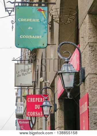 SAINT MALO FRANCE - MAY 2 2014: Menu board of restaurant in Intramuros - Internal City of Saint Malo. Brittany, France