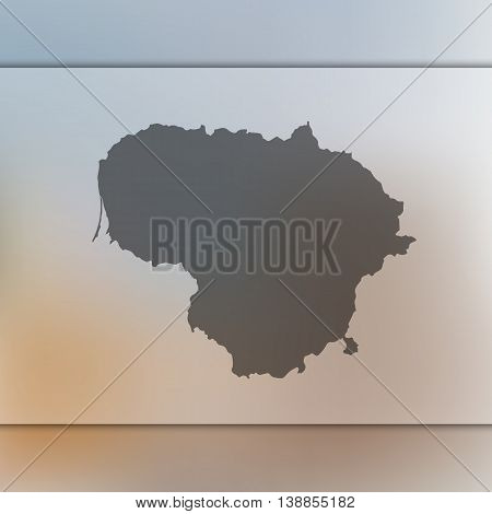 Lithuania map on blurred background. Lithuania. Lithuania map. Blurred background.