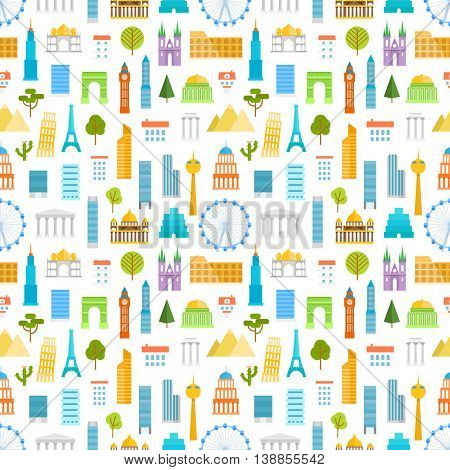 Different world famouse sights and city buildings color silhouettes seamless pattern